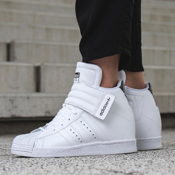 Adidas White Superstar Wedge Up Strap